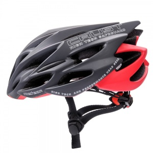 Meteor kask rowerowy CRUST IN-MOLD Grey Red - rozm.  L 58-61cm