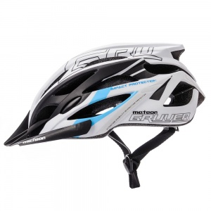 Meteor kask rowerowy GRUVER White Black Blue - rozm. S 52-56cm